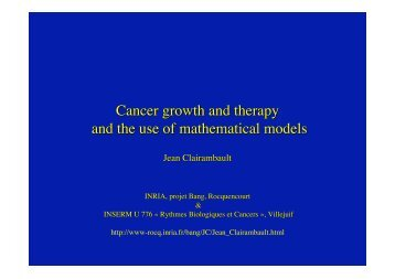 Cancer growth and therapy and the use of mathematical models - Inria