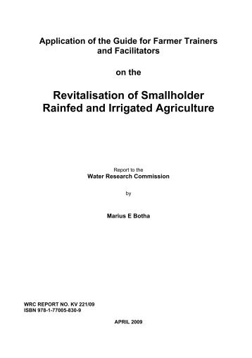 Revitalisation of Smallholder Rainfed and Irrigated Agriculture