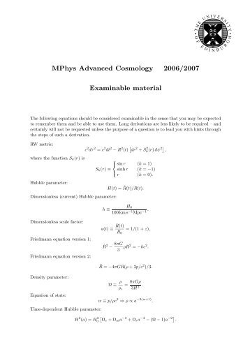 MPhys Advanced Cosmology 2006/2007 Examinable material