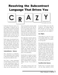 Resolving Subcontract Language That Drives You Crazy - AWCI