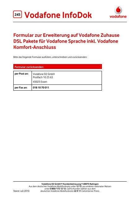 Infodok 245 Formular Zur Erweiterung Auf Vodafone Zuhause