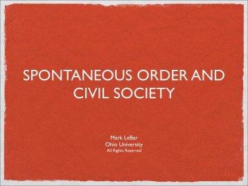 SPONTANEOUS ORDER AND CIVIL SOCIETY - Kosmos