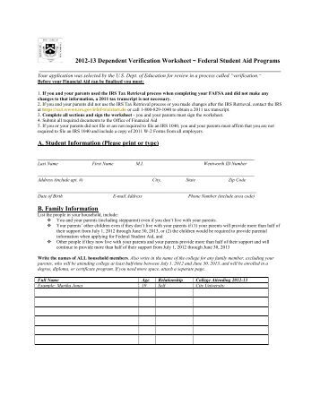 Printables Dependent Verification Worksheet 2011 2012 dependent verification worksheet finger lakes 13 federal student aid