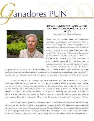 Dra. Ma. Luisa Rdgz. - dgapa unam - Universidad Nacional ...