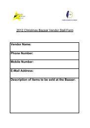 2012 Christmas Bazaar Vendor Stall Form Vendor Name - Taipei ...