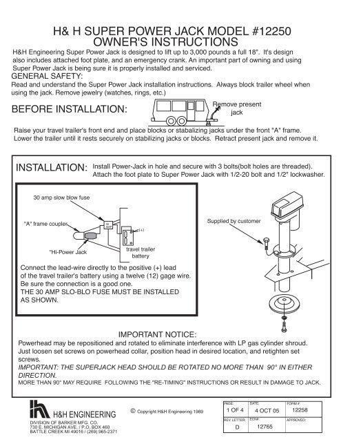 h& h super power jack model #12250 owner's instructions ... H Amp Trailer Wiring Diagram on