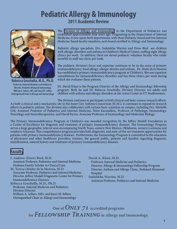 Pediatric Allergy & Immunology - UT Southwestern