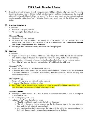 new richmond baseball club t ball rules