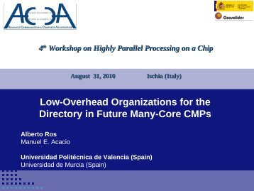 Low-Overhead Organizations for the Directory in Future Many-Core ...