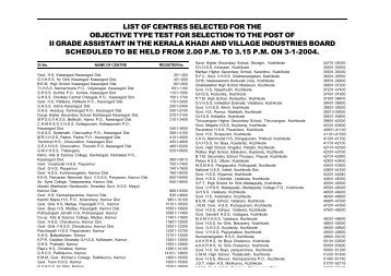 LIST OF CENTRES SELECTED FOR THE OBJECTIVE TYPE TEST ...