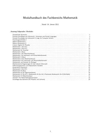 Modulbeschreibungen - Fachbereich Mathematik - Technische ...