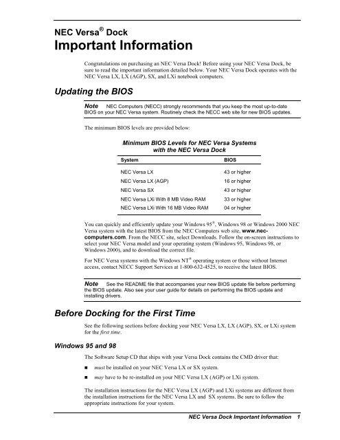 NEC Versa Dock Important Information - Support