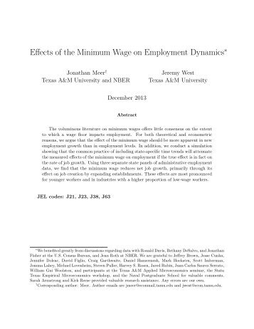 Effects of the Minimum Wage on Employment Dynamics
