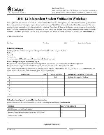 2011 2012 verification worksheet ifap u s department of. Black Bedroom Furniture Sets. Home Design Ideas