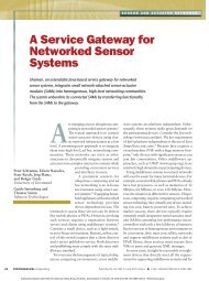 Sensor and actuator networks - A service gateway for networked ...