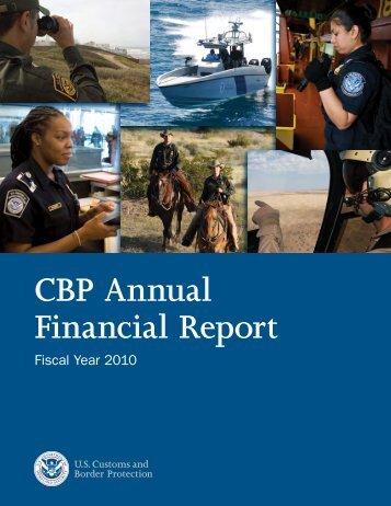 Fiscal Year 2010 CBP Annual Financial Report - CBP.gov