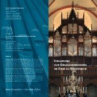 Einladung zur Orgeleinweihung im Dom zu Bardowick