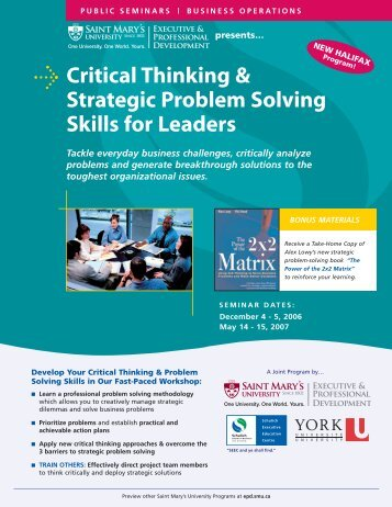"critical thinking and strategic problem solving skills for leaders Problem solving thinking ""outside the box"" & thinking develop ""rules"" for the group & pick a leader study strategies and critical thinking skills."