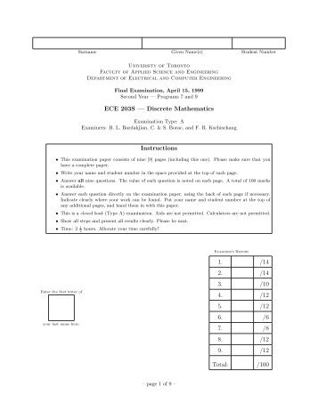 ECE 203S — Discrete Mathematics Instructions 1. /14 2. /14 3. /10 4 ...