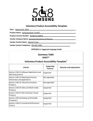 voluntary product accessibility template section 508 - 8 bit microcontroller