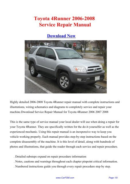 Toyota 4Runner 2006-2008 Repair Manual - Carfsm