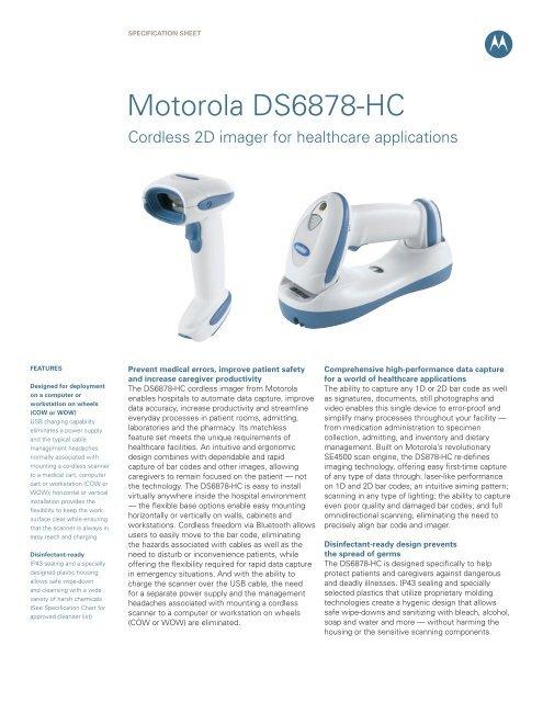 Motorola DS6878-HC Cordless 2D imager for     - Newsroom
