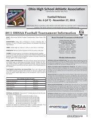 Football Release No. 6 - Ohio High School Athletic Association