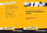 Erwachsenenbildner/in SVEB 1 - Volkshochschule Solothurn