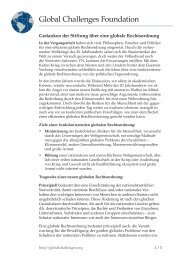 Gedanken der Stiftung über eine globale Rechtsordnung