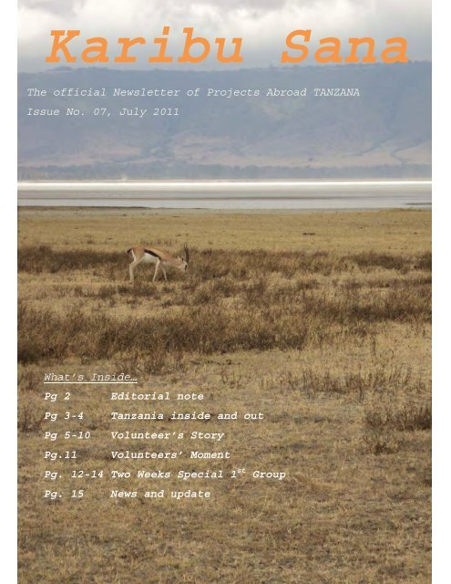 The official Newsletter of Projects Abroad TANZANA Issue No. 07 ...