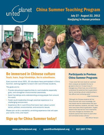 China Summer Teaching Program - United Planet