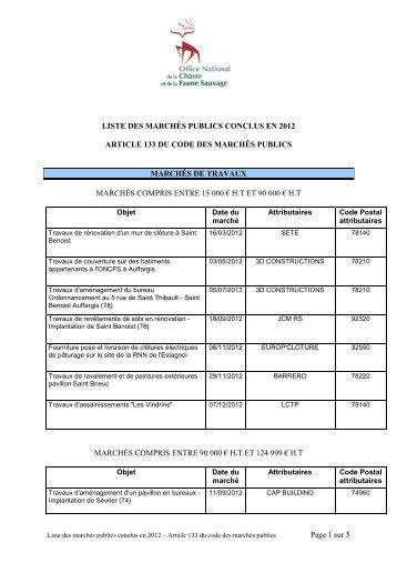 Marchés conclus par l'ONCFS en 2012