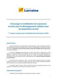 Appel à projets pour la solidarité internationale en 2011 - Conseil ...