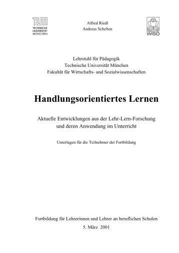 Handlungsorientiertes Lernen - Publikationen Schelten