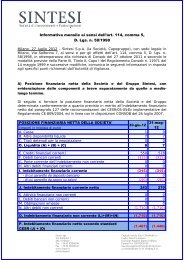 Comunicato Stampa - SINTESI - Società di Investimenti e ...