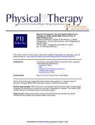 Physical Therapists' Use of Cognitive-Behavioral Therapy for Older ...