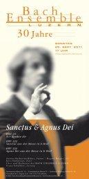 Sanctus & Agnus Dei - Bach Ensemble Luzern