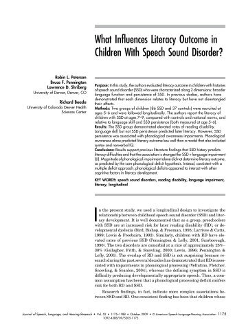 What Influences Literacy Outcome in Children With ... - ResearchGate