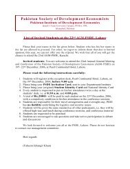 List of Invited Students at the 22nd AGM-PSDE, Lahore - Pakistan ...
