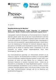 Presseinfo Juli 13: Begabtenförderung für Muslime - Stiftung Mercator