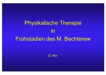 Physikalische Therapie in Frühstadien des M. Bechterew