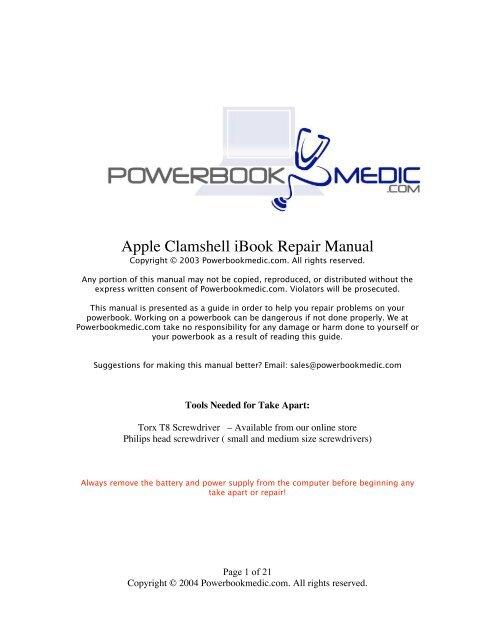 Apple Clamshell iBook Repair Manual - Powerbook Medic