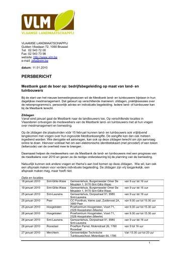 Persbericht: Mestbank gaat de boer op. - Vlaamse Landmaatschappij