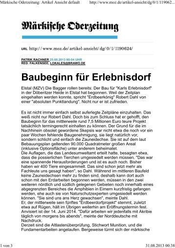 Märkische Oderzeitung, August 2013 - Karls