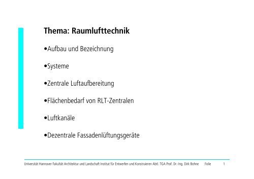 Dezentrale Luftbehandlung - Unics.uni-hannover.de