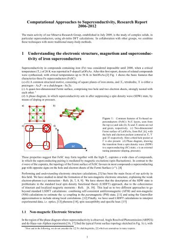 Computational Approaches to Superconductivity, Research Report ...