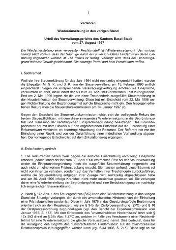Verfahren Wiedereinsetzung in den vorigen Stand Urteil des ...