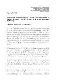 """Tagungsbericht Systemische Forschungstagung """"Rituale und ..."""