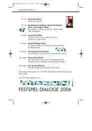 Festspiel-Dialoge 2006: Festspiele: Traditionshüter ... - W-k.sbg.ac.at