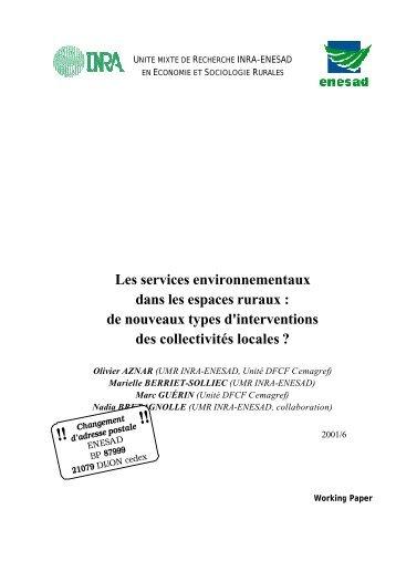 Les services environnementaux dans les espaces ruraux : de ... - Inra
